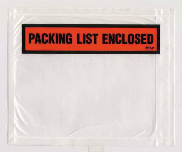 "Open Face 4 1/2"" x 5 1/2"" Packing List Envelope"